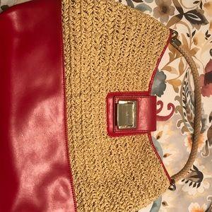 Talbots summer straw and leather handbag